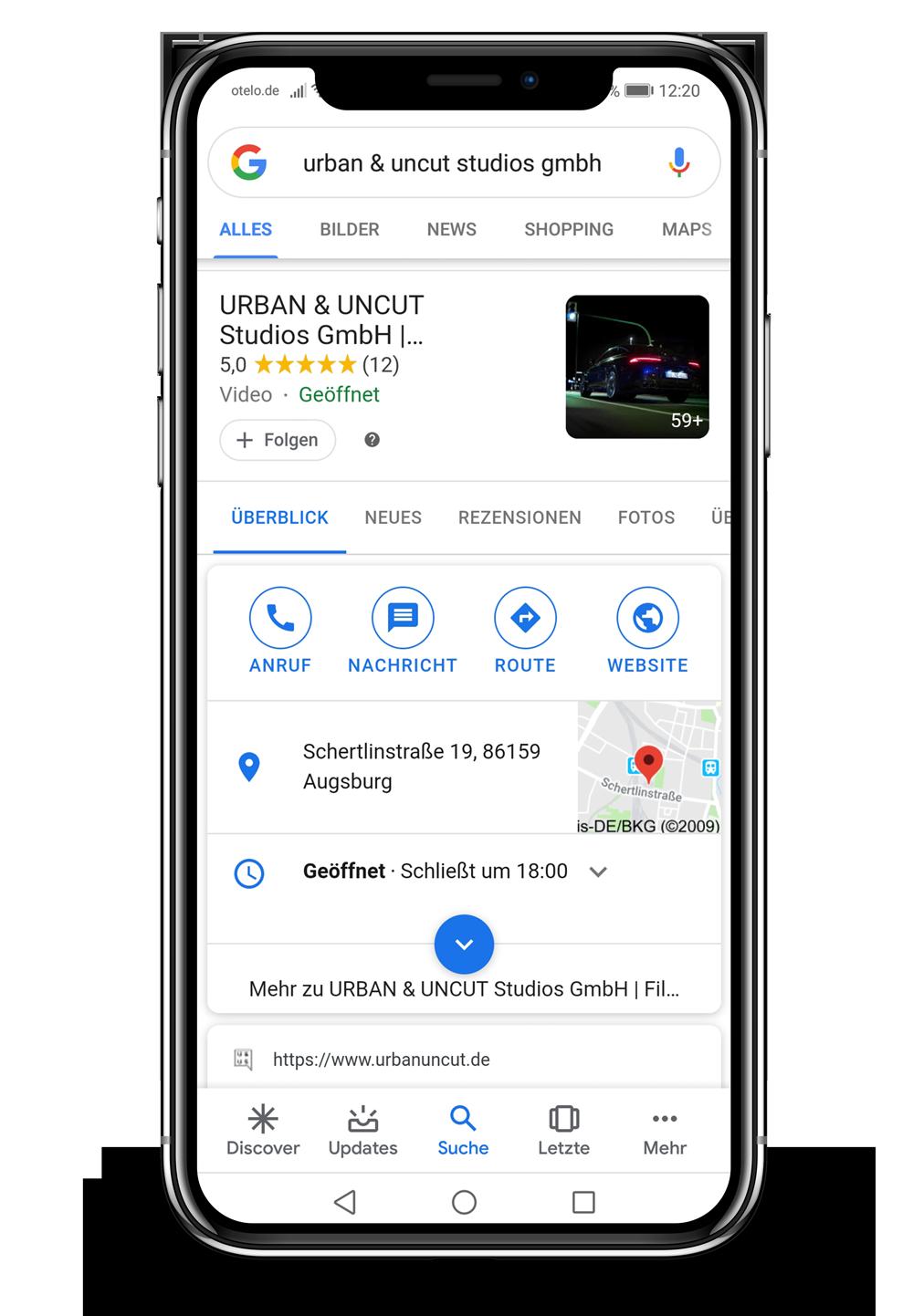 Bild zeigt ein mobiles Endgerät, auf welcher unsere Google Business Eintrag angezeigt wird
