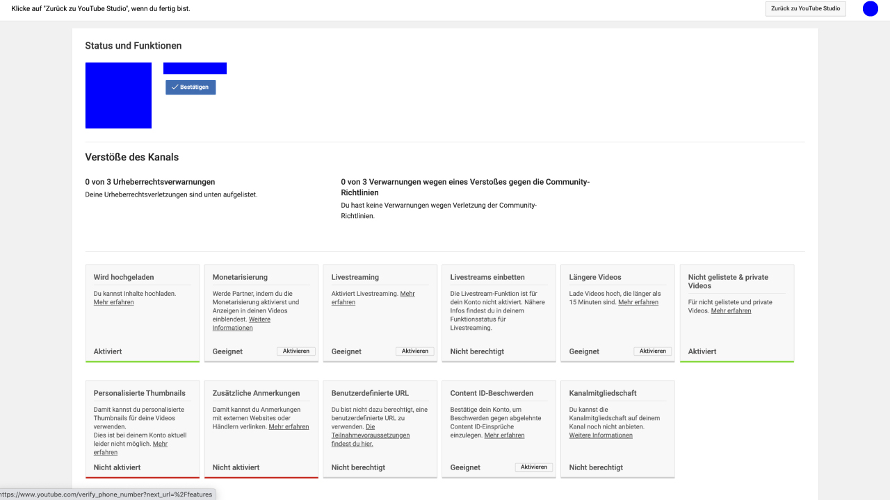 Youtube Account Status und Funktionen