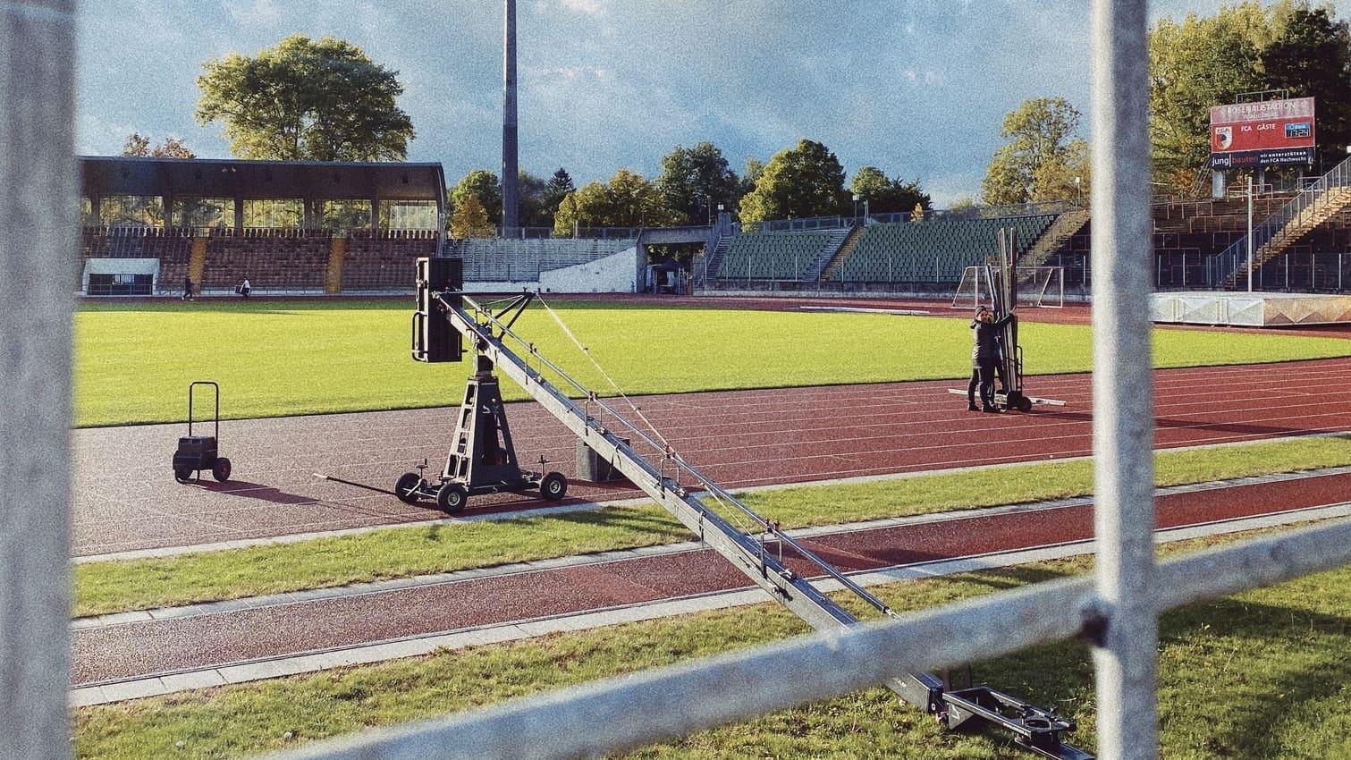 Werbefilm Service Produktion Filmproduktion in Augsburg Foxy Kamera Kran t20 Head im Rosenaustadion